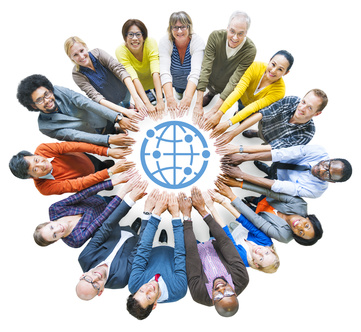 Diverse People with Togetherness Concepts and Globe Symbol