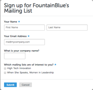 Sign up for FountainBlue's Mailing List